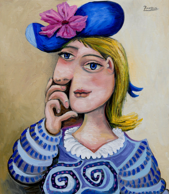Blonde girl with a flower in her hat