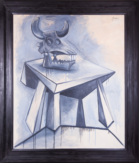 Skull of a bull on a table