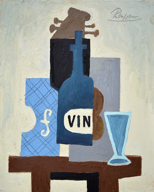 Still life with instruments and bottle
