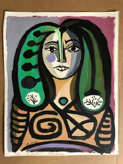 Woman with green hair (II)