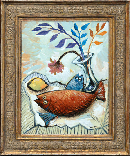 Still life with fish, flowers and a lemon