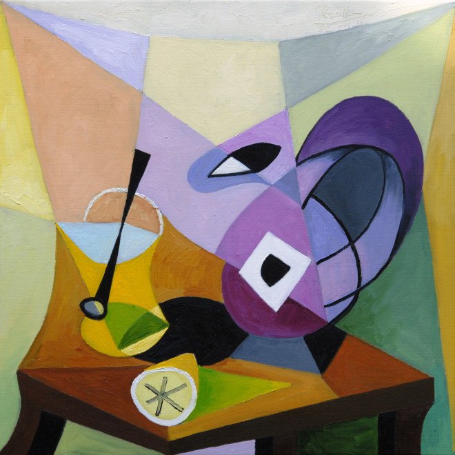 Erik Renssen, Pitcher, lemon and glass on a table , 2016