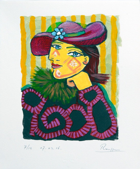 Woman in a straw hat with flower 3, (III)