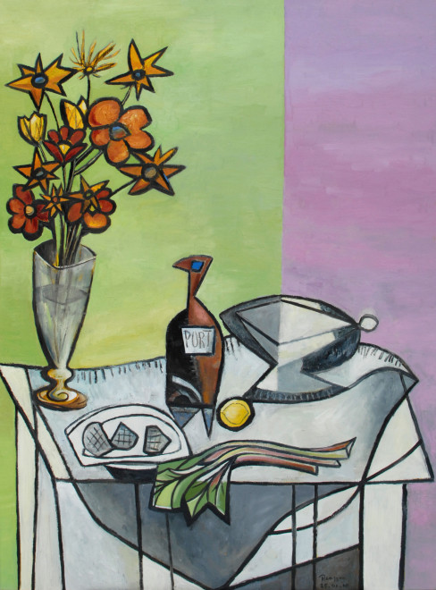 Still life with rhubarb, apples and a bottle of port