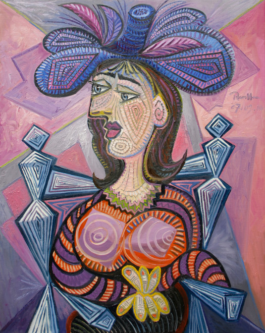 Seated woman in a purple feathered hat