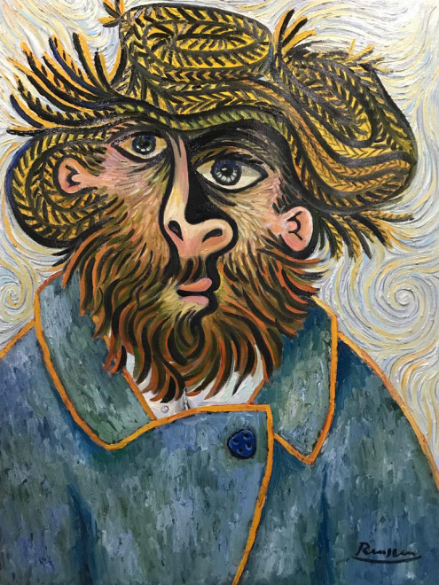 Bearded man in straw hat