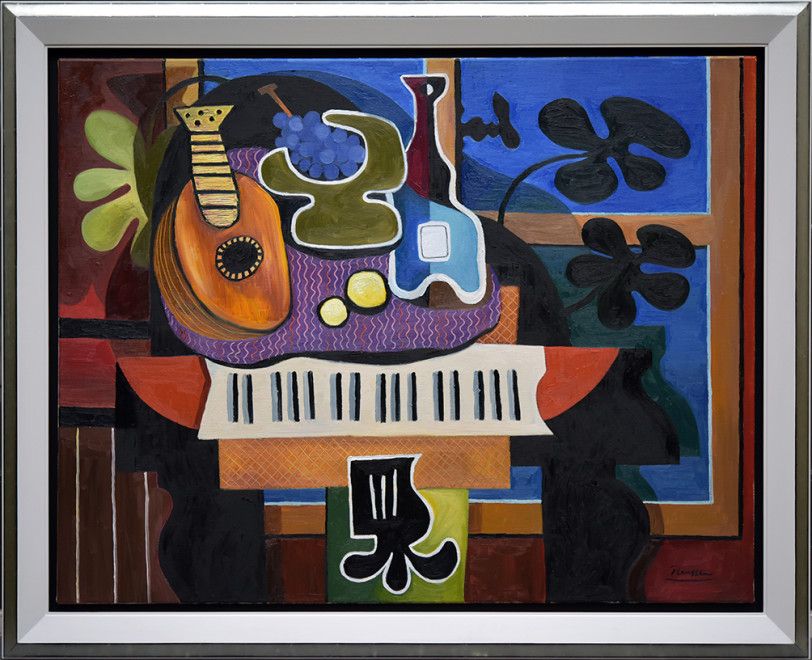 Mandolin, grapes and bottle on a grand piano
