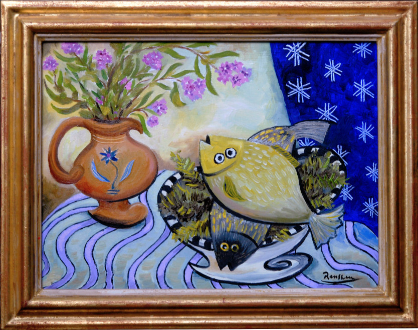 Still life with flowers in a pot and fish in a bowl