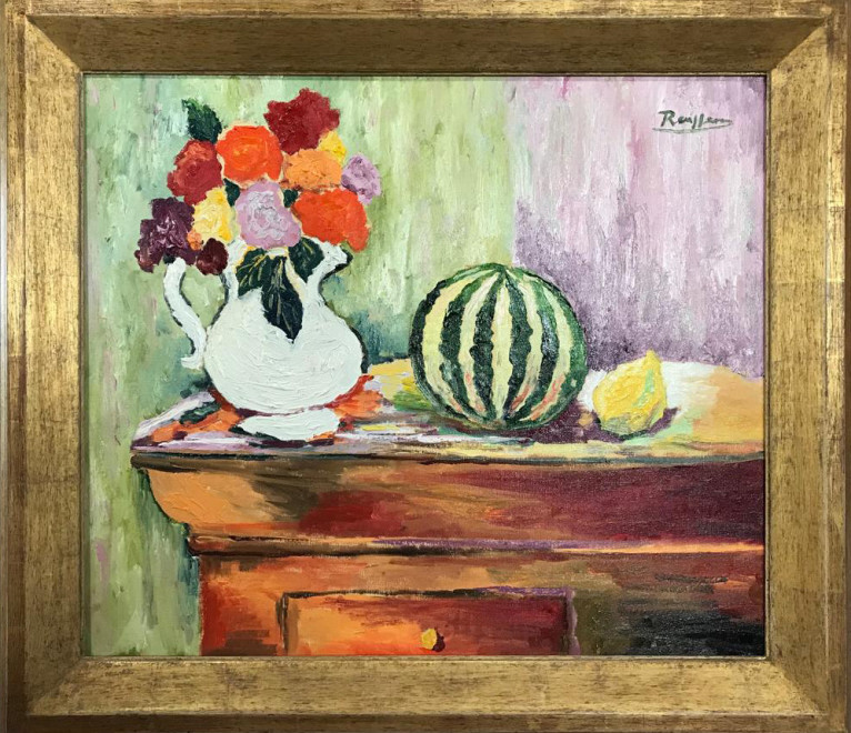 Roses and watermelon on a table