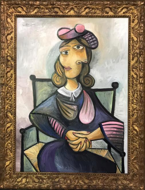 Size L | Seated woman in a pink baret