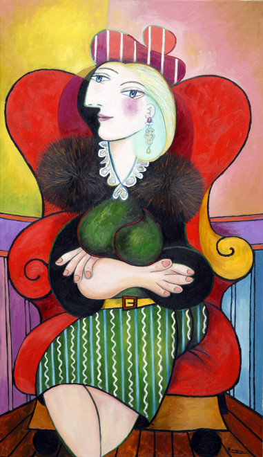 Seated woman with turquoise earrings