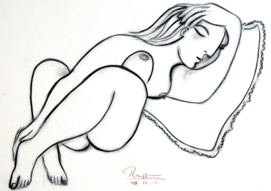 Sleeping nude on a pillow