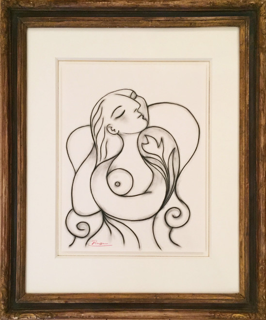 Seated woman doing her hair II