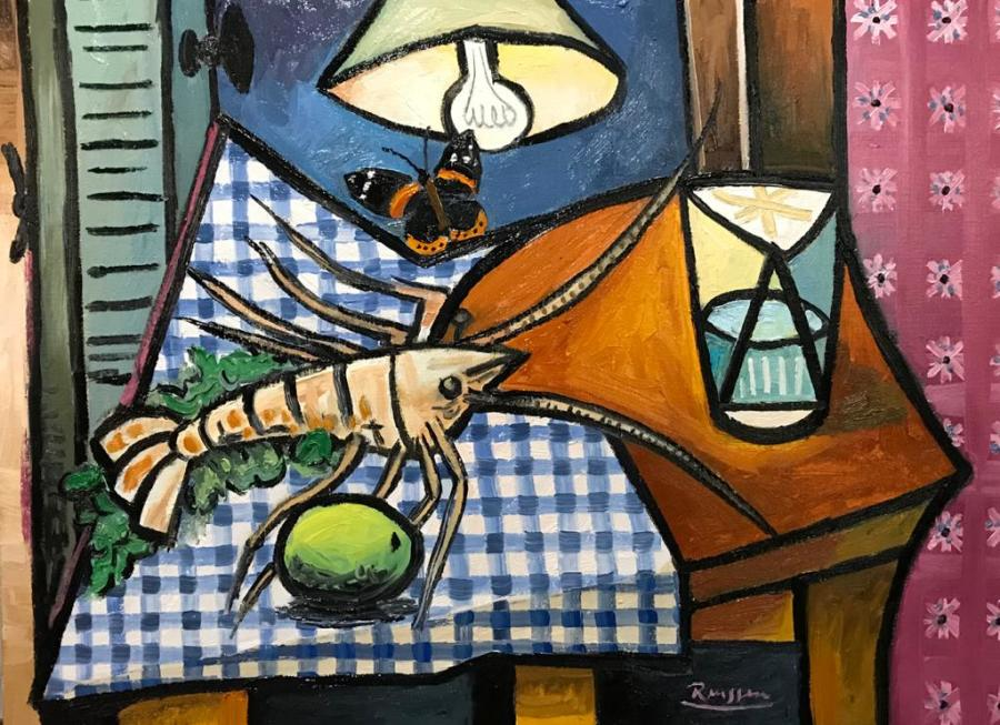 Still life with lobster, butterfly, lemon and glass