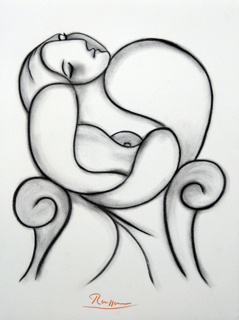 Seated woman taking a nap