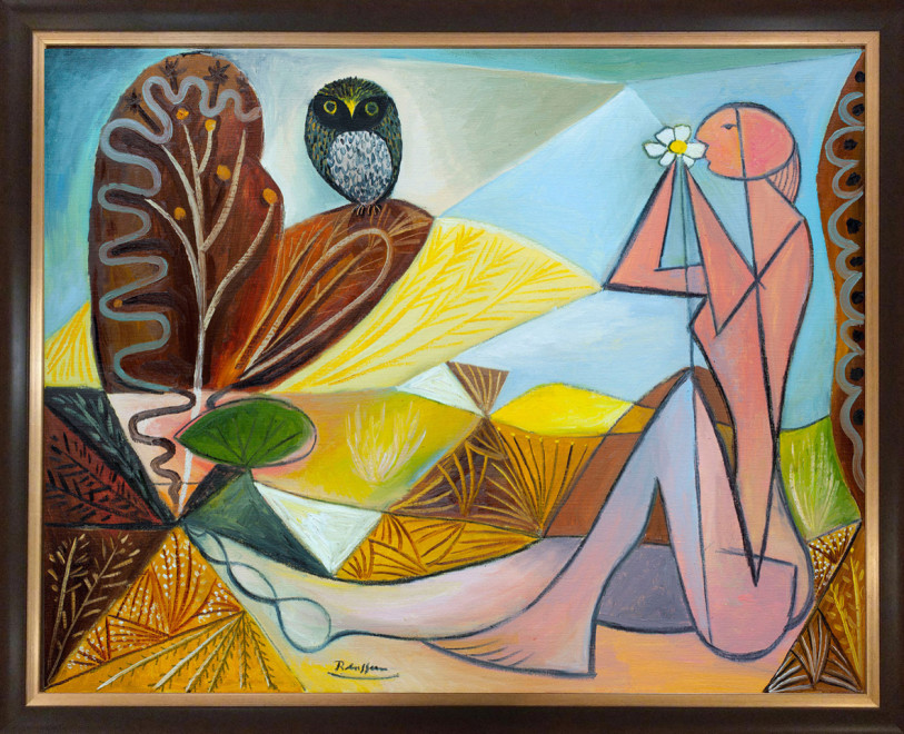 Nude and owl in a garden | edition of 10