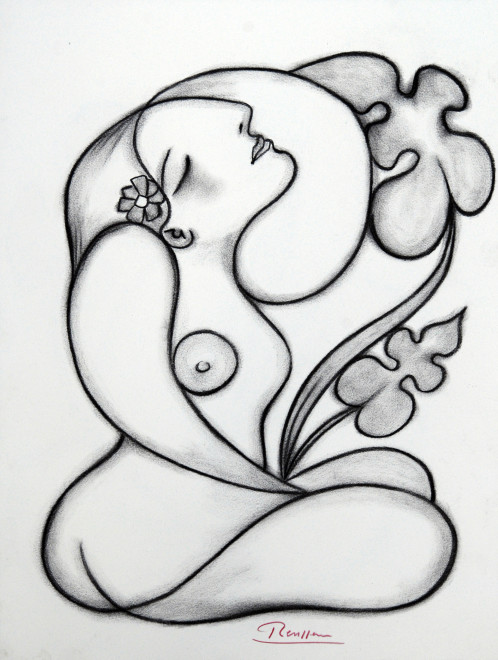 Seated nude with flower