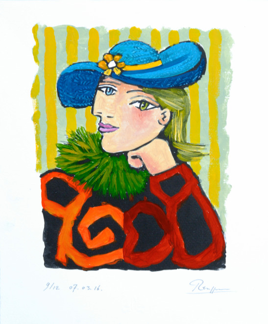Woman in a straw hat with flower 3, (V)