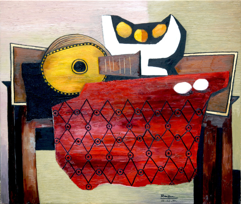 Still life with guitar, fruit bowl and red tablecloth