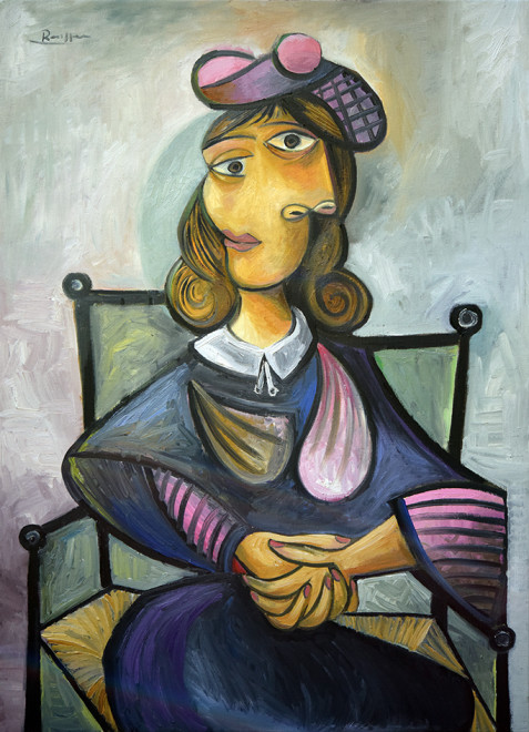 Seated woman in a pink baret