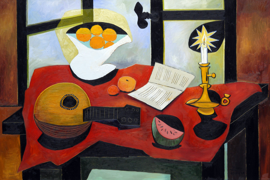 Still life with mandolin, fruit bowl, candle and melon