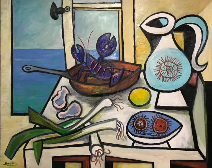 Seafood on a table in front of an open window