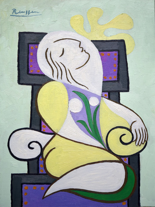 Seated woman with leaves