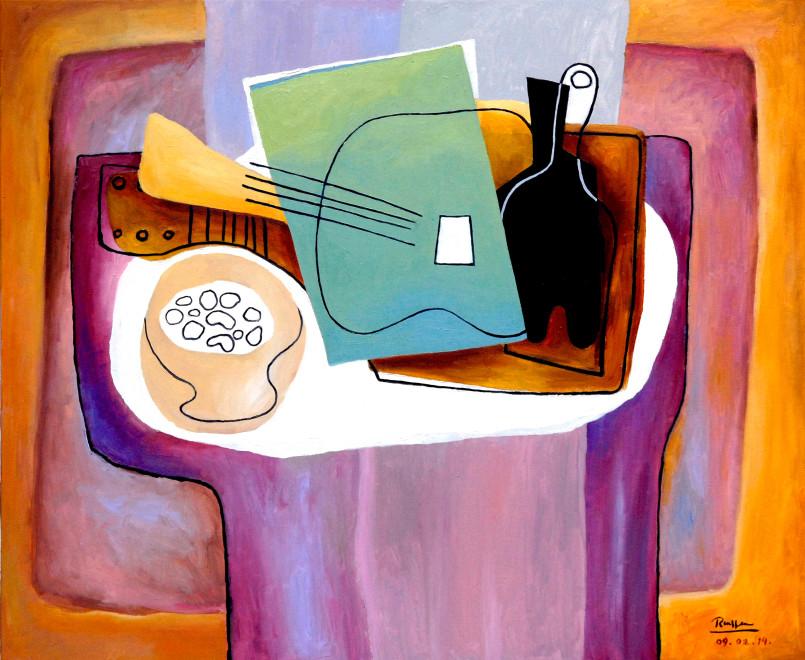 Erik Renssen, Guitar, bottle and nuts in a dish, 2014