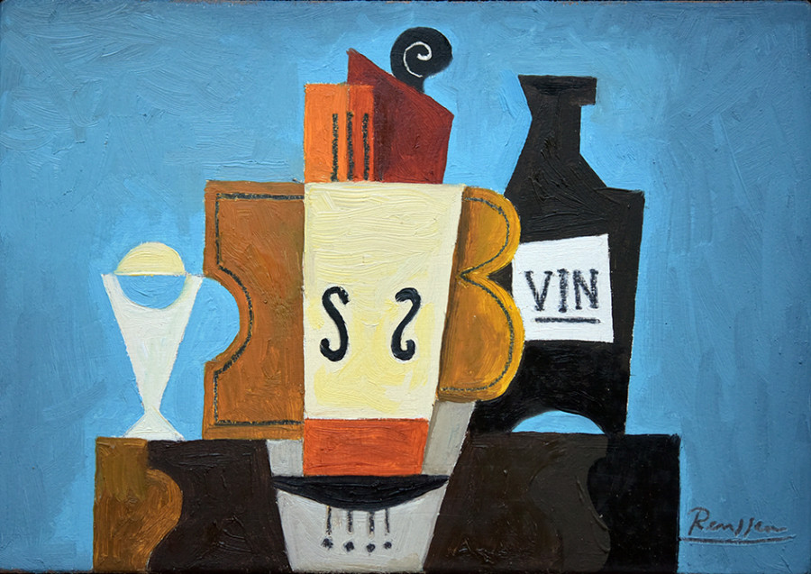 Instruments, wine and glass on a table