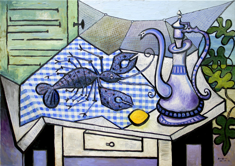 Lobster, coffeepot and lemon