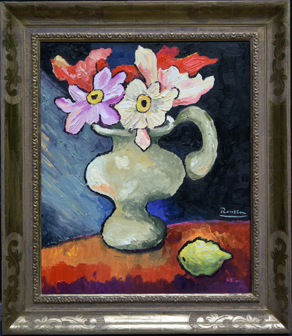 Pitcher with flowers and lemon on a table