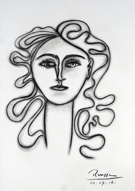 Head of a woman with curly hair