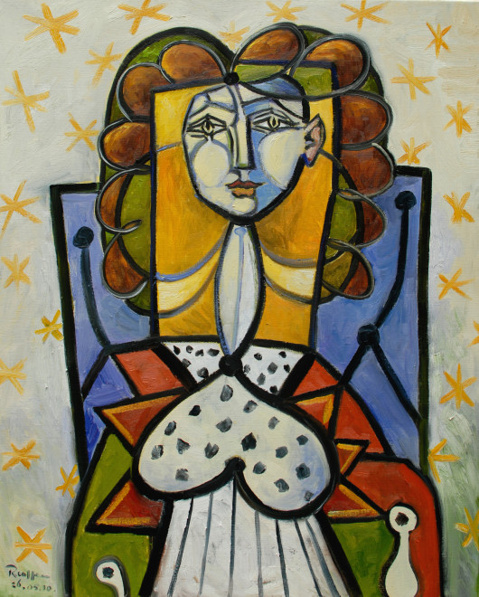 Woman in a blue chair