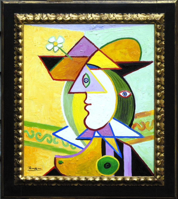 Woman in a hat with flower