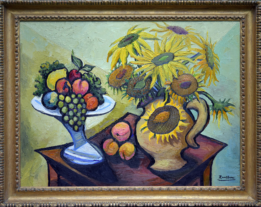 Sunflowers and fruitbowl
