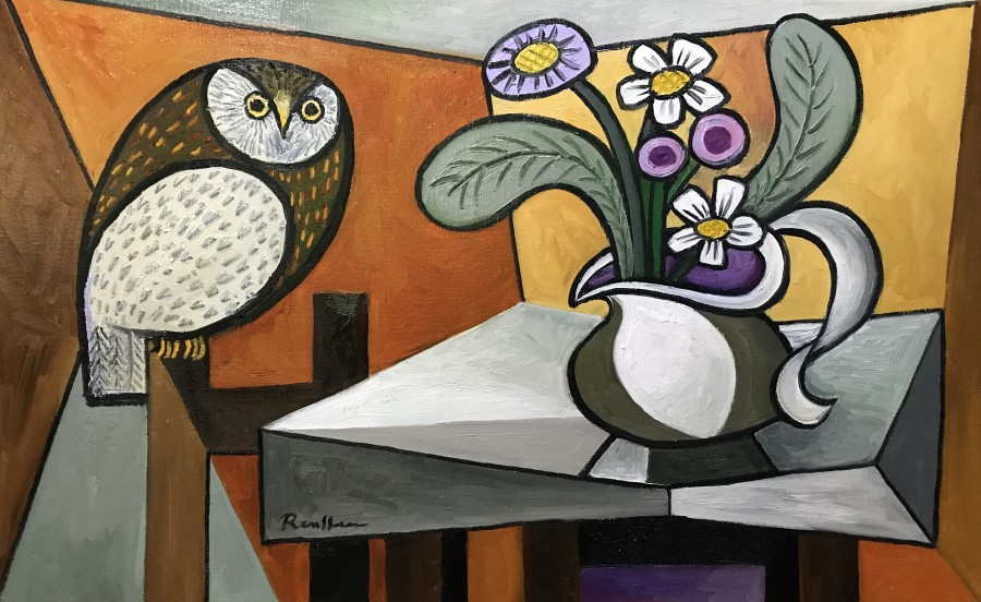 Owl and pitcher with flowers