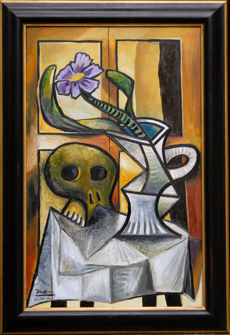Skull and pitcher with flower and leaves I
