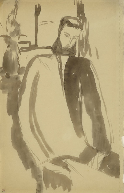 """<span class=""""artist""""><strong>Amedeo Modigliani</strong></span>, <span class=""""title""""><em>Bearded Man, Three-Quarter View to Right, Seated in front of a piece of Furniture with a Jug</em>, c.1909</span>"""