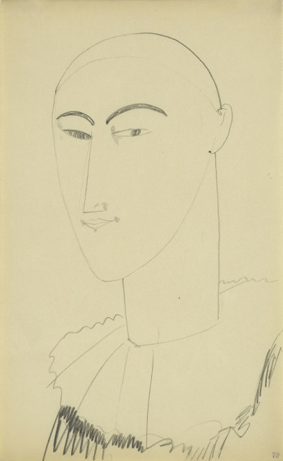 """<span class=""""artist""""><strong>Amedeo Modigliani</strong></span>, <span class=""""title""""><em>Pierrot with Ruff</em>, c.1911</span>"""