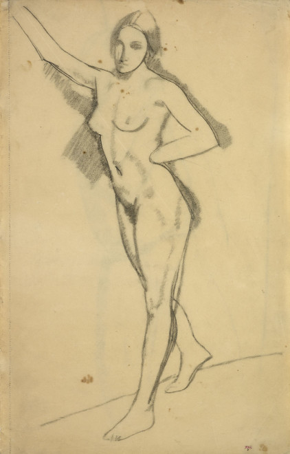 <span class=&#34;artist&#34;><strong>Amedeo Modigliani</strong></span>, <span class=&#34;title&#34;><em>Female Nude, Three-Quarter view to Left, Right Arm raised, Left Hand  on Hip</em>, 1908</span>
