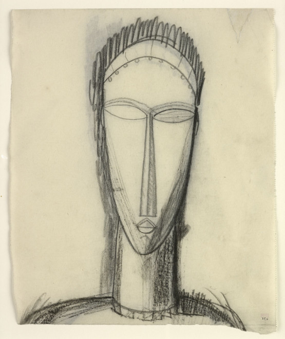 <span class=&#34;artist&#34;><strong>Amedeo Modigliani</strong></span>, <span class=&#34;title&#34;><em>Head, Full-Face with Fringe and Necklace recto/verso</em>, 1911-1912</span>