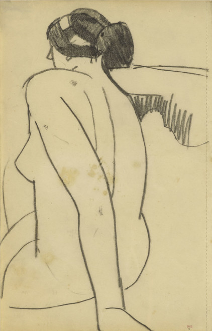 <span class=&#34;artist&#34;><strong>Amedeo Modigliani</strong></span>, <span class=&#34;title&#34;><em>Seated Female Nude, Back View, Three Quarters to Left</em>, 1908</span>