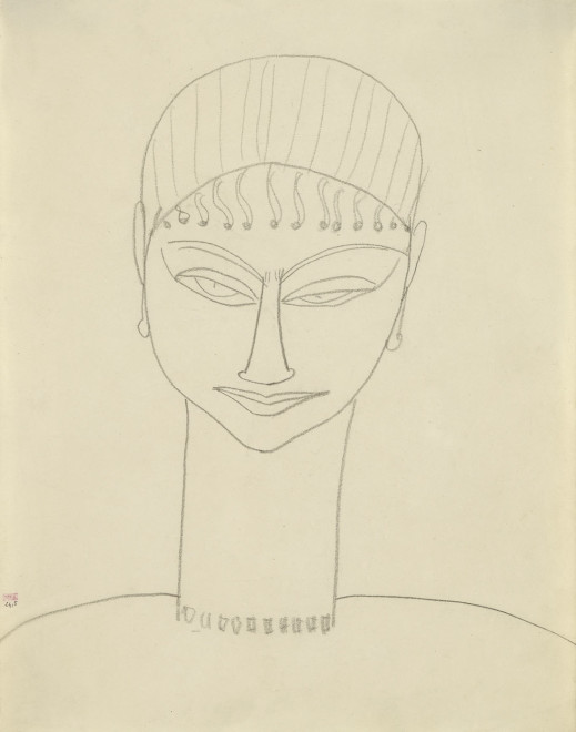 <span class=&#34;artist&#34;><strong>Amedeo Modigliani</strong></span>, <span class=&#34;title&#34;><em>Head and Shoulders, Full-face; Fringe, Earrings, Necklace </em>, 1911-12</span>
