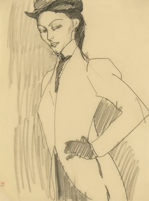 """<span class=""""artist""""><strong>Amedeo Modigliani</strong></span>, <span class=""""title""""><em>Study for """"The Amazon""""</em>, 1909</span>"""