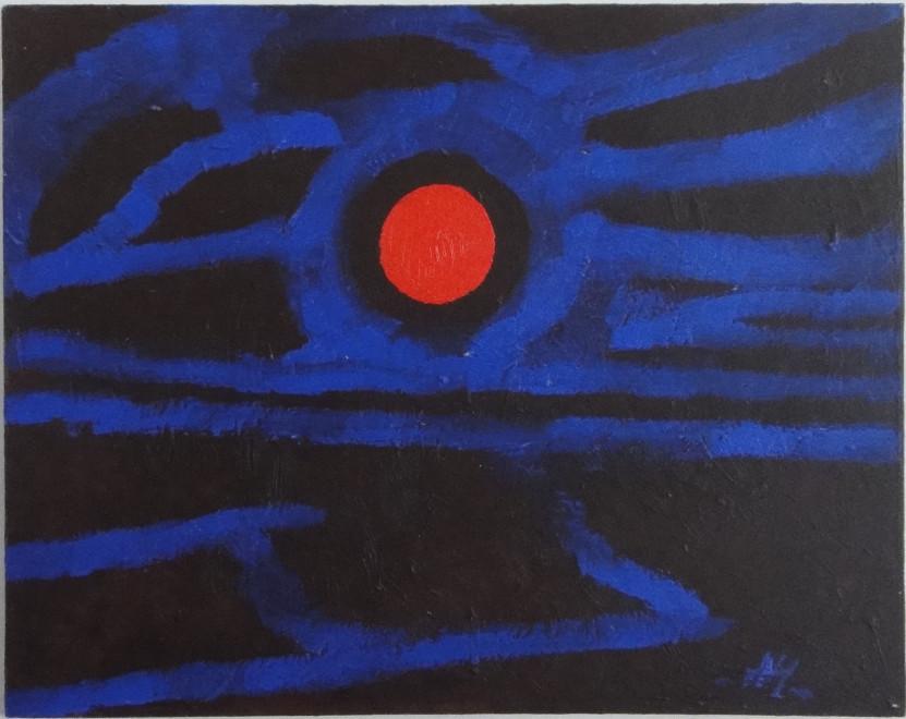 <span class=&#34;artist&#34;><strong>Albert Houthuesen</strong></span>, <span class=&#34;title&#34;><em>Orange Moon</em>, c.1975</span>