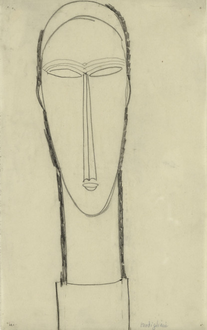 <span class=&#34;artist&#34;><strong>Amedeo Modigliani</strong></span>, <span class=&#34;title&#34;><em>Head, Full-Face on Plinth</em>, c.1911</span>