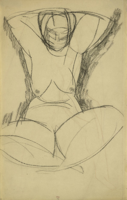 """<span class=""""artist""""><strong>Amedeo Modigliani</strong></span>, <span class=""""title""""><em>Monumental Caryatid, Frontal View</em>, c.1913</span>"""