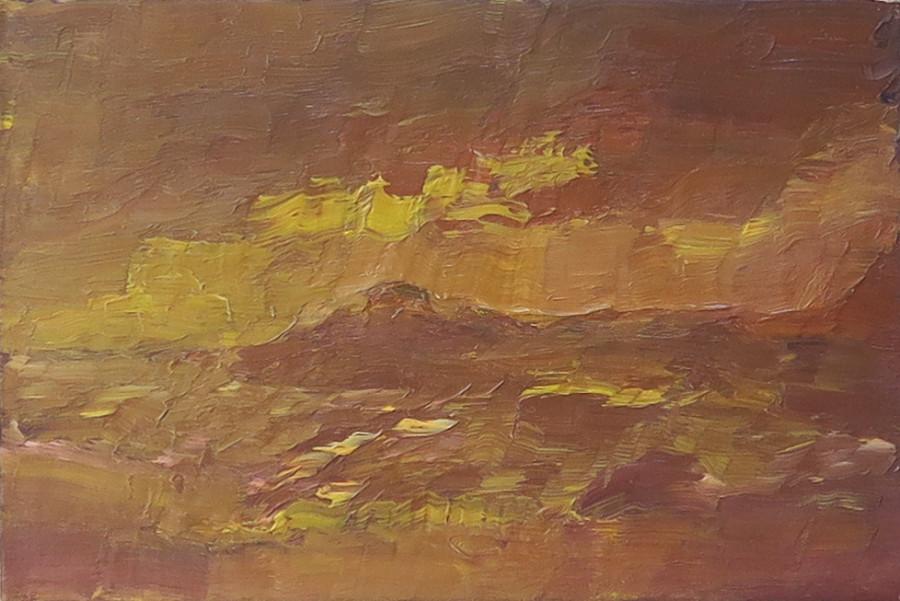"""<span class=""""artist""""><strong>Albert Houthuesen</strong></span>, <span class=""""title""""><em>Ochre Seascape</em>, c.1965</span>"""