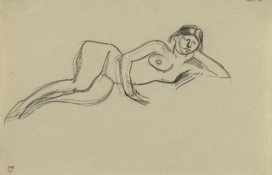 <span class=&#34;artist&#34;><strong>Amedeo Modigliani</strong></span>, <span class=&#34;title&#34;><em>Female Nude Reclining on Left side, Head Leaning on Left Hand</em>, c.1909</span>