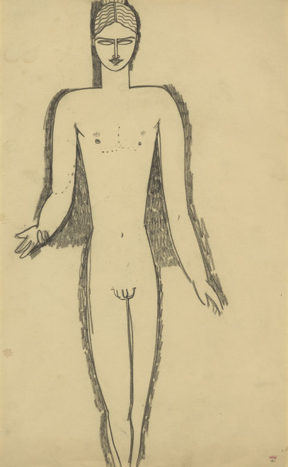 """<span class=""""artist""""><strong>Amedeo Modigliani</strong></span>, <span class=""""title""""><em>Male Nude, Frontal View, Arms Apart</em>, c.1911</span>"""